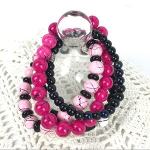 Stackable Bracelets Pink Black White Stretch 4Pc